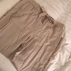 Khaki linen beach pants